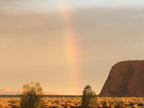 A rainbow appears